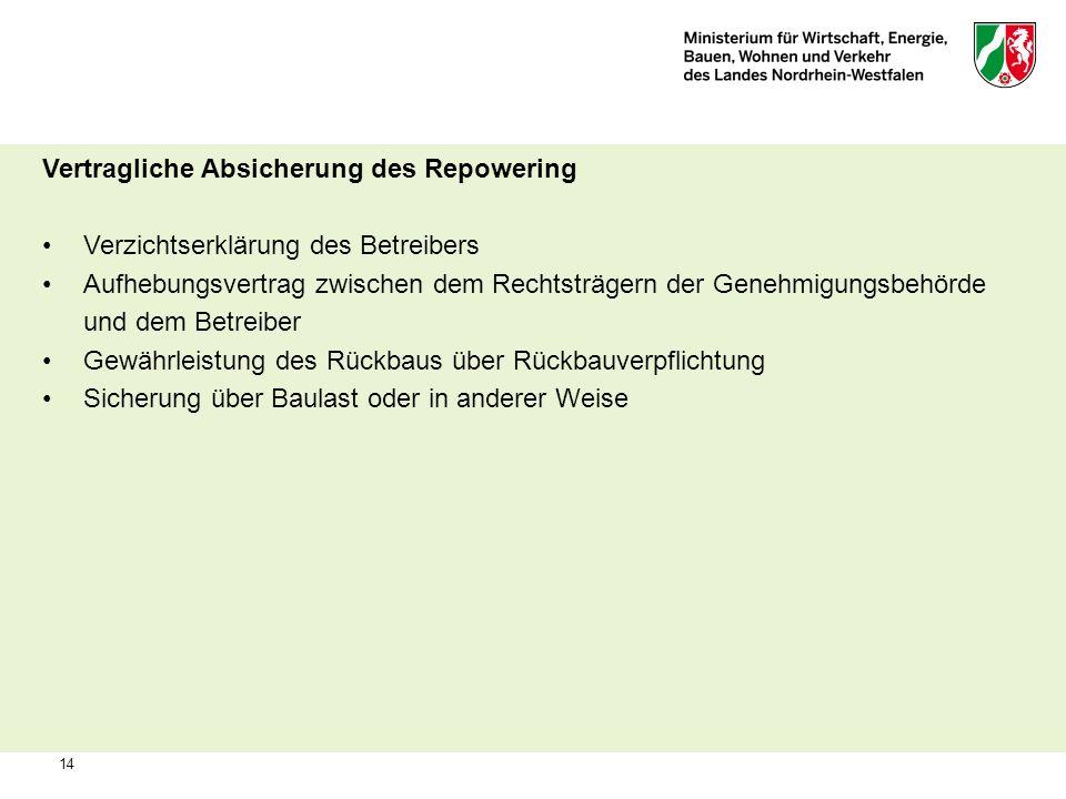 14 Vertragliche Absicherung des Repowering Verzichtserklärung des Betreibers Aufhebungsvertrag zwischen dem Rechtsträgern der Genehmigungsbehörde und