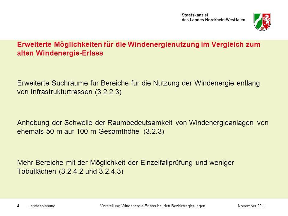 Landesplanung Vorstellung Windenergie-Erlass bei den BezirksregierungenNovember 20115 Bereiche, für die eine Einzelfallprüfung durchzuführen ist (3.2.4.2) Gewerbe und Industrieansiedlungsbereiche (neu!) – wenn genügend Fläche für Industrie- und Gewerbe verbleibt und Nutzung durch WEA nicht eingeschränkt wird Reservegebiete für den oberirdischen Abbau nicht energetischer Bodenschätze – wenn WEA befristet zugelassen werden Flächen im Vorfeld der Braunkohlentagebaue – wenn WEA befristet zugelassen werden Standorte von Altdeponien und Halden, BSAB – als Nachfolgenutzung