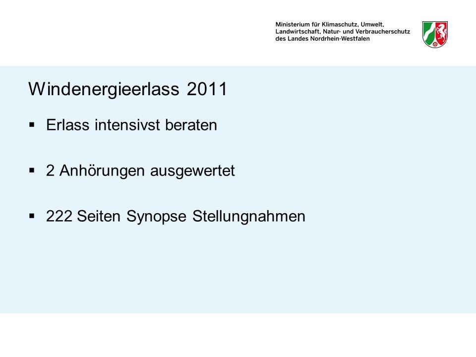 Windenergieerlass 2011 CO2- Ausstoß in NRW - bis 2020 um 25 % Reduktion, - bis 2050 in Anlehnung an Bund um 80 % Strom aus Windenergie in NRW von heute 3 Prozent auf 15 Prozent bis 2020 Ziele der Koalitionsvereinbarung