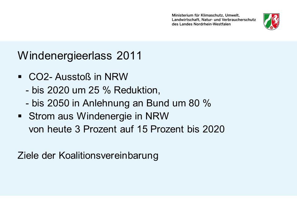 Windenergieerlass 2011 Zu leisten durch Repowering und Neue Konzentrationszonen Zahl der Anlagen bleibt nach WindGuard gleich; da Abstände bei größeren Anlagen größer, also neue Flächen