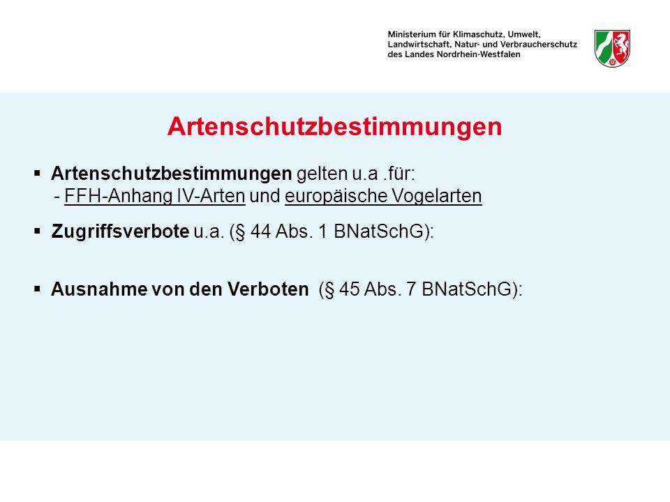 Artenschutzbestimmungen gelten u.a.für: - FFH-Anhang IV-Arten und europäische Vogelarten Zugriffsverbote u.a. (§ 44 Abs. 1 BNatSchG): Ausnahme von den