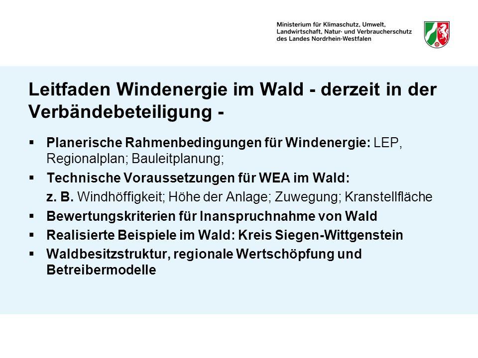 Leitfaden Windenergie im Wald - derzeit in der Verbändebeteiligung - Planerische Rahmenbedingungen für Windenergie: LEP, Regionalplan; Bauleitplanung;