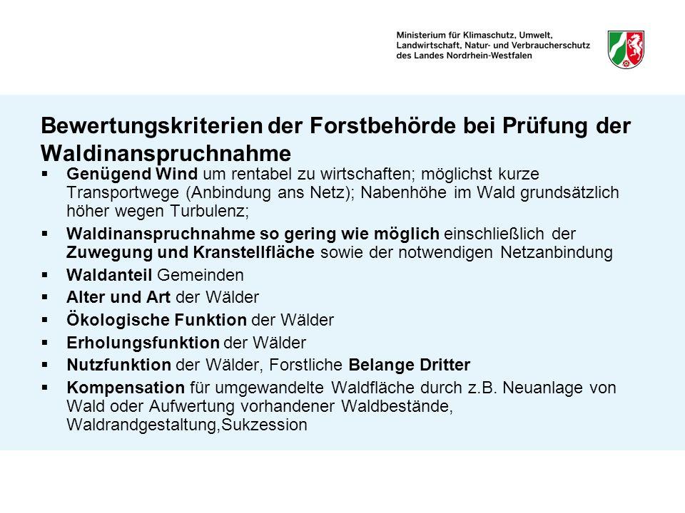 Bewertungskriterien der Forstbehörde bei Prüfung der Waldinanspruchnahme Genügend Wind um rentabel zu wirtschaften; möglichst kurze Transportwege (Anb