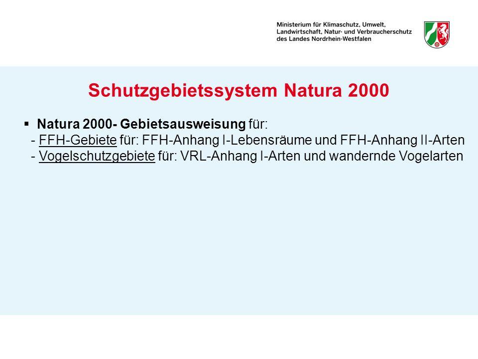 Schutzgebietssystem Natura 2000 Natura 2000- Gebietsausweisung für: - FFH-Gebiete für: FFH-Anhang I-Lebensräume und FFH-Anhang II-Arten - Vogelschutzg