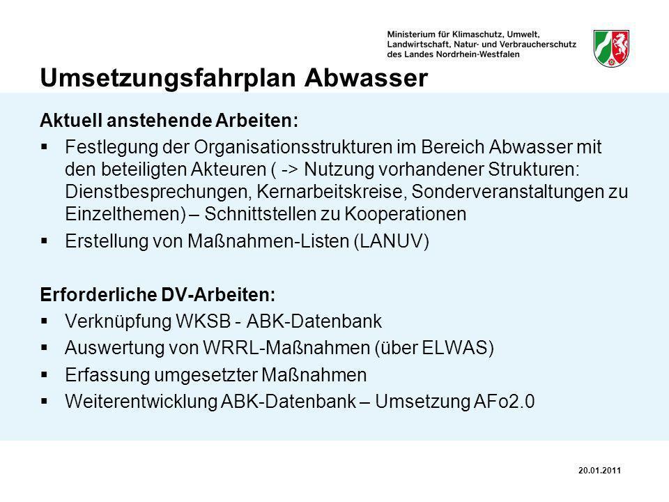 Umsetzungsfahrplan Abwasser Aktuell anstehende Arbeiten: Festlegung der Organisationsstrukturen im Bereich Abwasser mit den beteiligten Akteuren ( ->