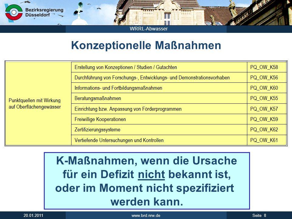 www.brd.nrw.de 9Seite 20.01.2011 WRRL-Abwasser Programmmaßnahmen in den PE-Steckbriefen Programmmaß- nahme für eine Wasserkörper- gruppe.
