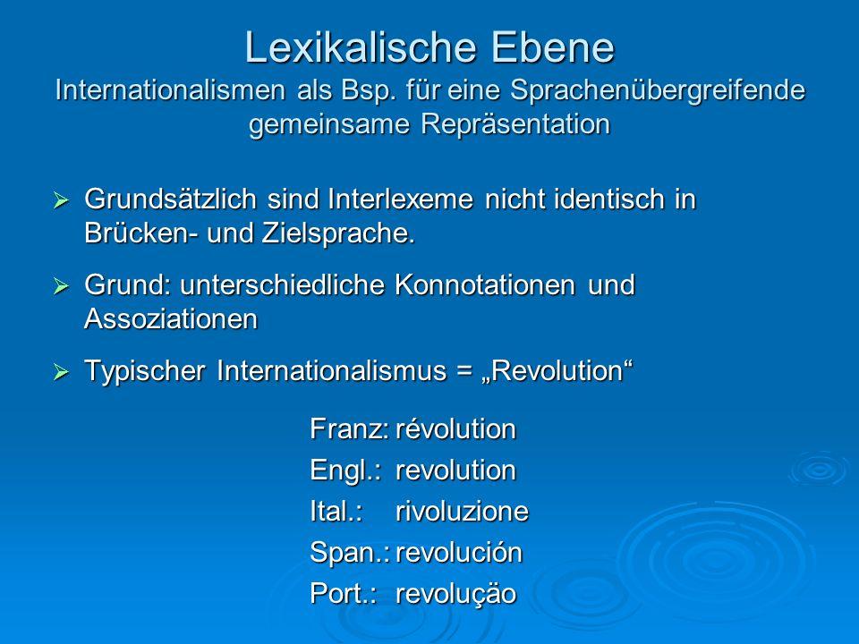 Lexikalische Ebene Lesebeispiel für Sprachenübergreifende gemeinsame Repräsentation Monedas en euro Las ocho denominaciones de monedas son diferentes en tamaño, color y grosor según sus valores, que son 1, 2, 5, 10, 20 y 50 céntimos y 1 y 2 euros.