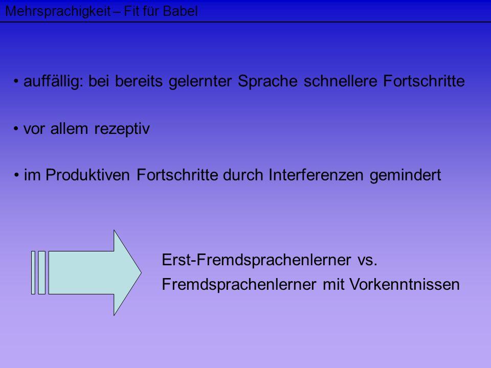 Mehrsprachigkeit – Fit für Babel auffällig: bei bereits gelernter Sprache schnellere Fortschritte vor allem rezeptiv im Produktiven Fortschritte durch
