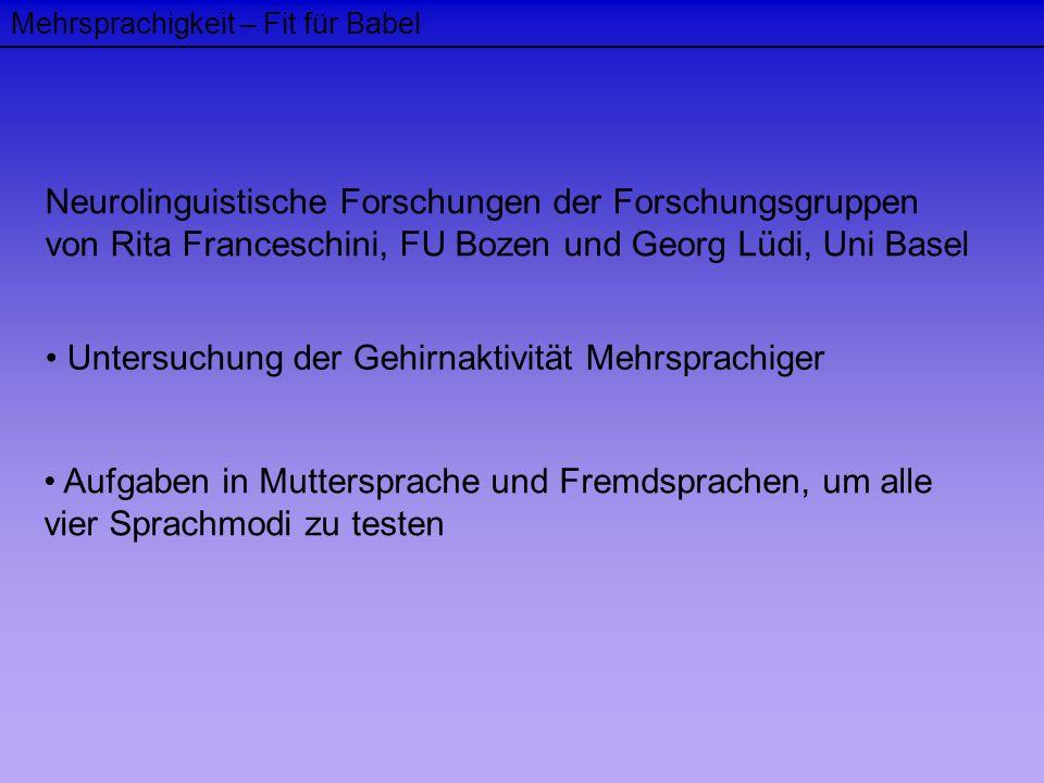 Mehrsprachigkeit – Fit für Babel Neurolinguistische Forschungen der Forschungsgruppen von Rita Franceschini, FU Bozen und Georg Lüdi, Uni Basel Unters