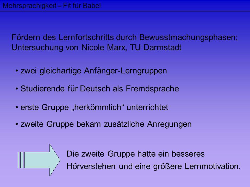 Mehrsprachigkeit – Fit für Babel Fördern des Lernfortschritts durch Bewusstmachungsphasen; Untersuchung von Nicole Marx, TU Darmstadt zwei gleichartig