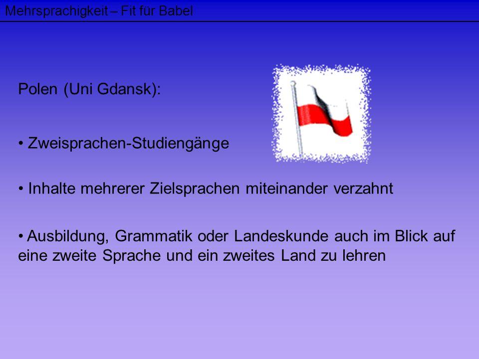 Mehrsprachigkeit – Fit für Babel Polen (Uni Gdansk): Zweisprachen-Studiengänge Inhalte mehrerer Zielsprachen miteinander verzahnt Ausbildung, Grammati