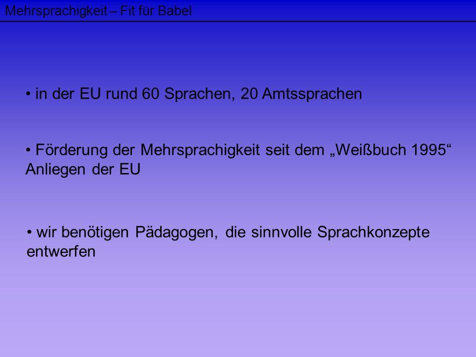 Mehrsprachigkeit – Fit für Babel in der EU rund 60 Sprachen, 20 Amtssprachen Förderung der Mehrsprachigkeit seit dem Weißbuch 1995 Anliegen der EU wir