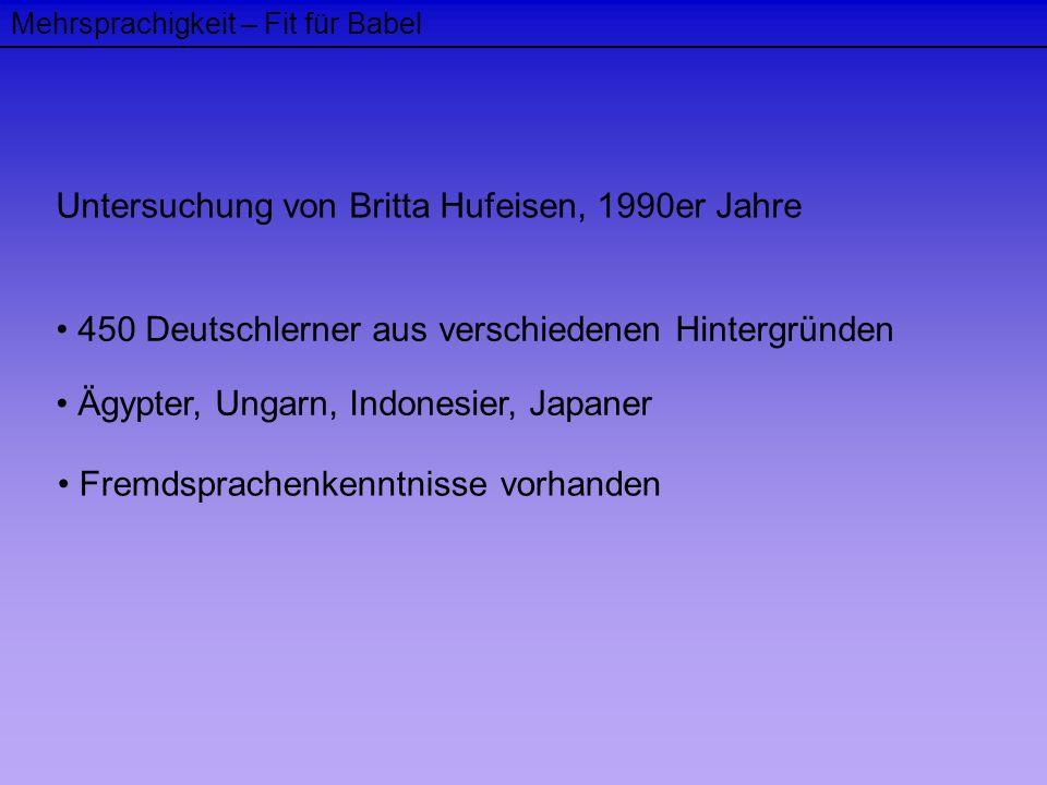 Mehrsprachigkeit – Fit für Babel Untersuchung von Britta Hufeisen, 1990er Jahre 450 Deutschlerner aus verschiedenen Hintergründen Ägypter, Ungarn, Ind