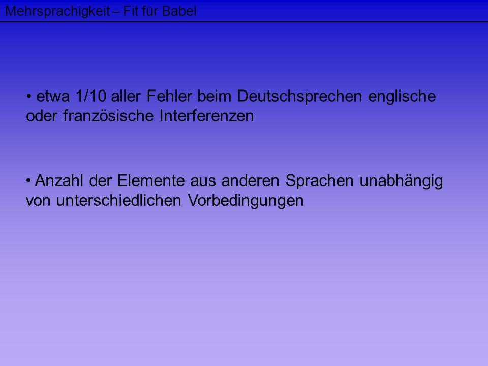 Mehrsprachigkeit – Fit für Babel etwa 1/10 aller Fehler beim Deutschsprechen englische oder französische Interferenzen Anzahl der Elemente aus anderen