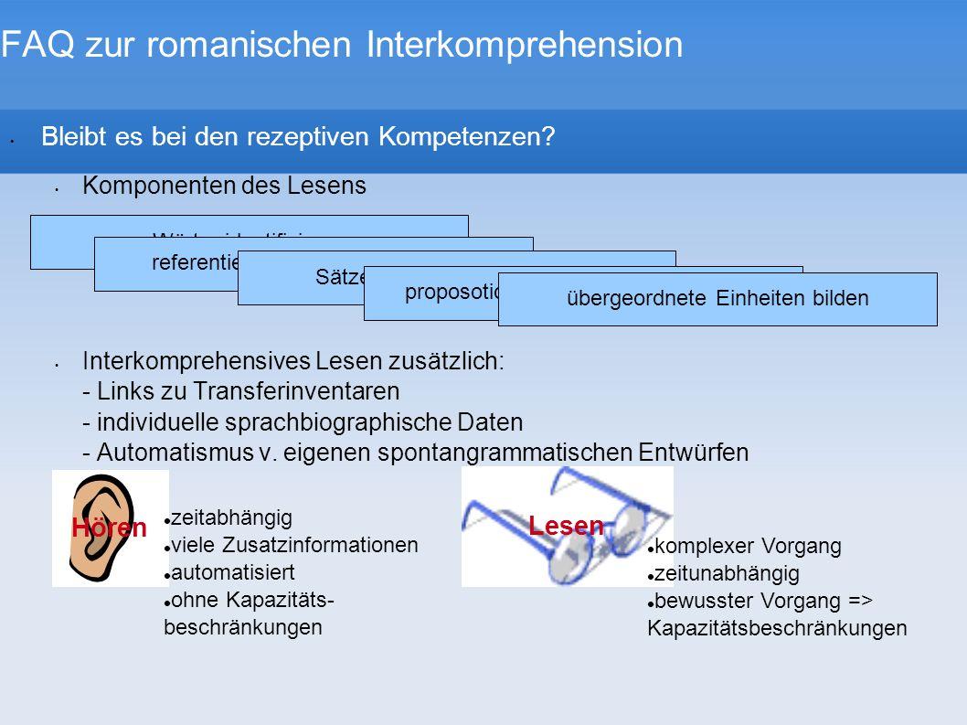 Wörter identifizieren FAQ zur romanischen Interkomprehension Bleibt es bei den rezeptiven Kompetenzen? Komponenten des Lesens Interkomprehensives Lese