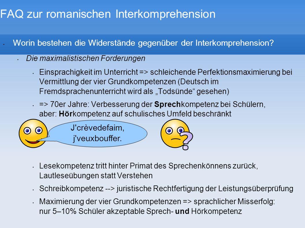 FAQ zur romanischen Interkomprehension Was versteht die Forschergruppe EuroCom unter Mehrsprachigkeit.