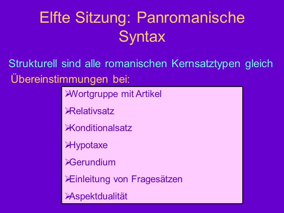 Elfte Sitzung: Panromanische Syntax Strukturell sind alle romanischen Kernsatztypen gleich Übereinstimmungen bei: Wortgruppe mit Artikel Relativsatz K
