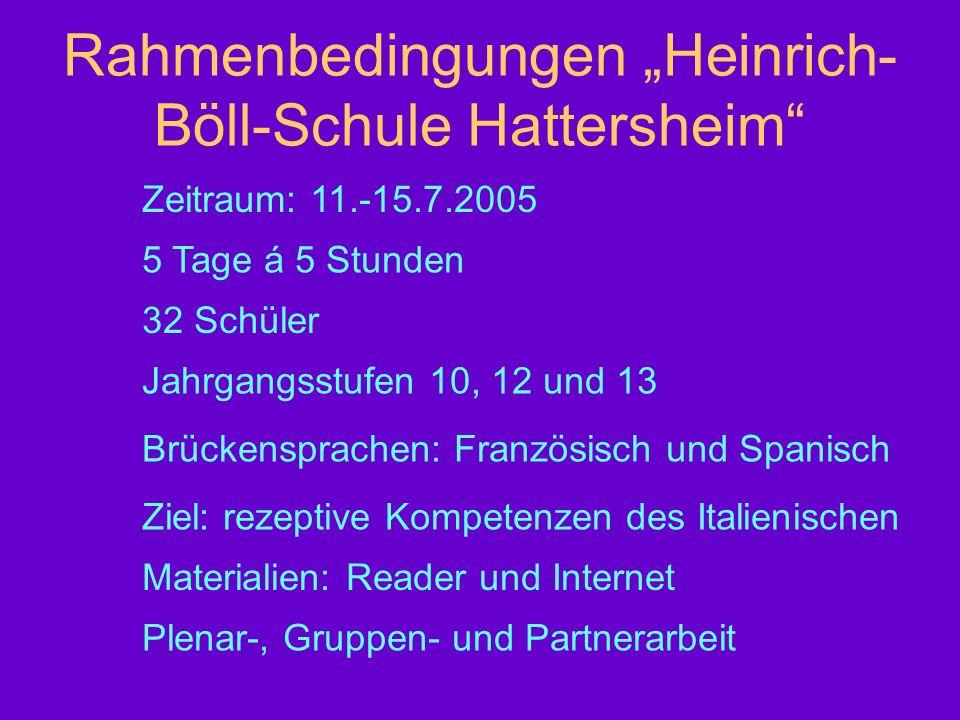 Rahmenbedingungen Heinrich- Böll-Schule Hattersheim Zeitraum: 11.-15.7.2005 5 Tage á 5 Stunden 32 Schüler Jahrgangsstufen 10, 12 und 13 Brückensprache