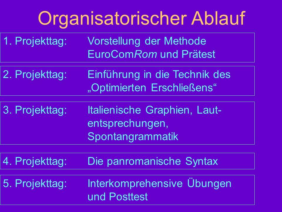 Organisatorischer Ablauf 1. Projekttag:Vorstellung der Methode EuroComRom und Prätest 2. Projekttag:Einführung in die Technik des Optimierten Erschlie
