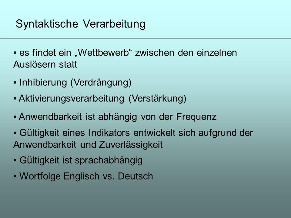 Syntaktische Verarbeitung es findet ein Wettbewerb zwischen den einzelnen Auslösern statt Inhibierung (Verdrängung) Aktivierungsverarbeitung (Verstärk