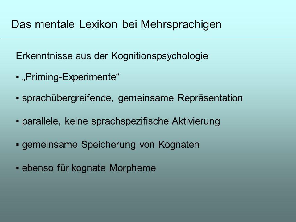 Das mentale Lexikon bei Mehrsprachigen Erkenntnisse aus der Kognitionspsychologie Priming-Experimente sprachübergreifende, gemeinsame Repräsentation p