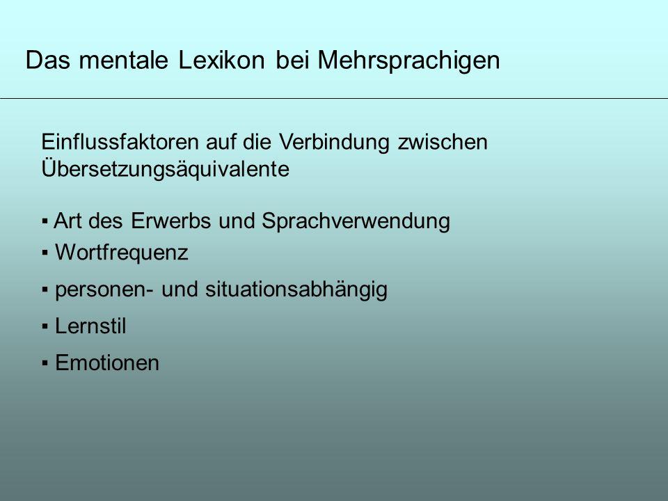 Das mentale Lexikon bei Mehrsprachigen Einflussfaktoren auf die Verbindung zwischen Übersetzungsäquivalente Art des Erwerbs und Sprachverwendung Wortf