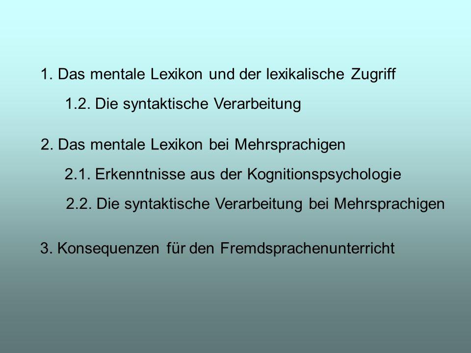 1.Das mentale Lexikon und der lexikalische Zugriff 1.2. Die syntaktische Verarbeitung 2. Das mentale Lexikon bei Mehrsprachigen 2.1. Erkenntnisse aus