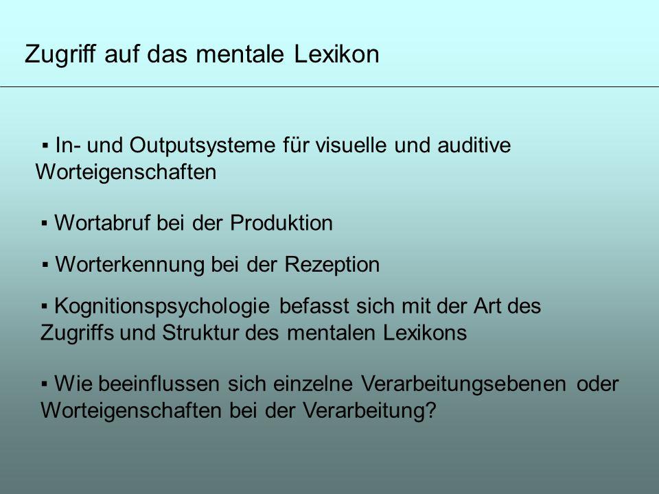 Zugriff auf das mentale Lexikon Wortabruf bei der Produktion Worterkennung bei der Rezeption In- und Outputsysteme für visuelle und auditive Worteigen