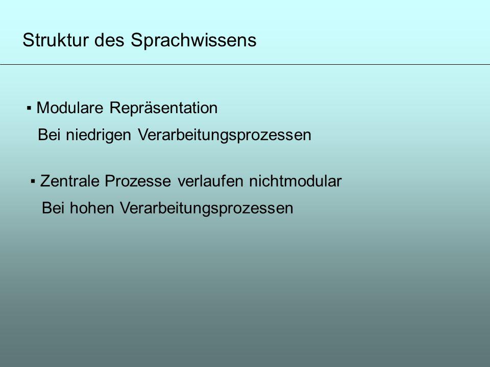 Struktur des Sprachwissens Modulare Repräsentation Bei niedrigen Verarbeitungsprozessen Zentrale Prozesse verlaufen nichtmodular Bei hohen Verarbeitun