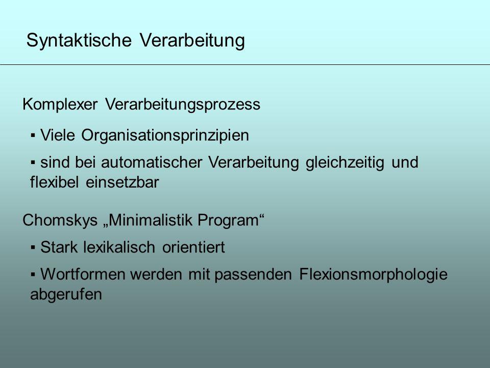 Syntaktische Verarbeitung Komplexer Verarbeitungsprozess Viele Organisationsprinzipien sind bei automatischer Verarbeitung gleichzeitig und flexibel e
