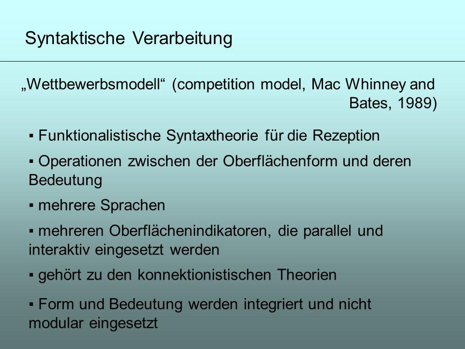 Syntaktische Verarbeitung Wettbewerbsmodell (competition model, Mac Whinney and Bates, 1989) Funktionalistische Syntaxtheorie für die Rezeption Operat