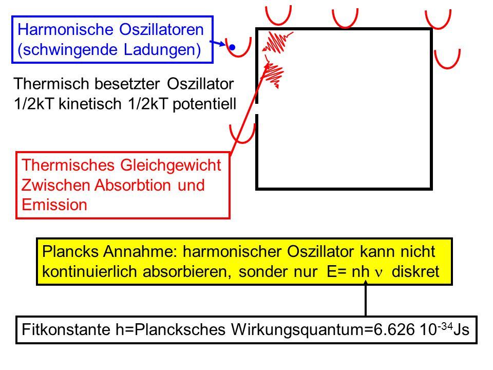 Thermisch besetzter Oszillator 1/2kT kinetisch 1/2kT potentiell Harmonische Oszillatoren (schwingende Ladungen) Thermisches Gleichgewicht Zwischen Abs