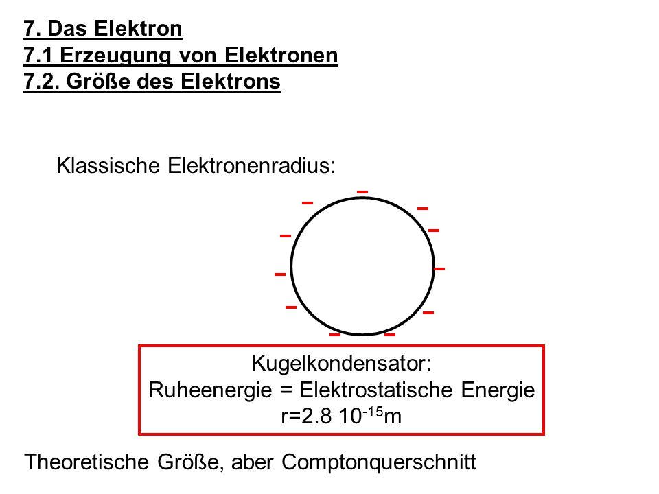 7.Das Elektron 7.1 Erzeugung von Elektronen 7.2.