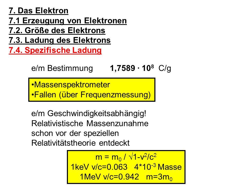 Ruhemasse des Elektrons: 9,1091 · 10 -28 g