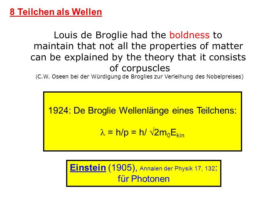 8 Teilchen als Wellen 1924: De Broglie Wellenlänge eines Teilchens: = h/p = h/ 2m 0 E kin Louis de Broglie had the boldness to maintain that not all t