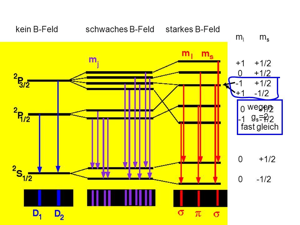 Äußeres B Feld schwächer als B Feld von l Anomaler Zeeman Drehimpuls l r j l l,s koppel zu j Kopplung der magnetischen Momente aneinander wichtiger als ans B Feld B Äußeres B Feld viel stärker als B Feld von l Paschen Back l und s koppel einzeln ans B Feld j nicht konstant l s