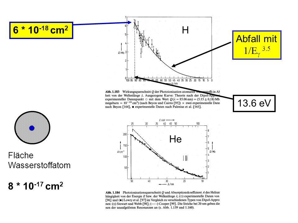 13.6 eV H He 6 * 10 -18 cm 2 Fläche Wasserstoffatom 8 * 10 -17 cm 2 Abfall mit 1/E 3.5
