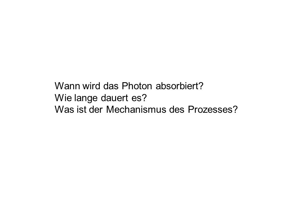 Wann wird das Photon absorbiert? Wie lange dauert es? Was ist der Mechanismus des Prozesses?