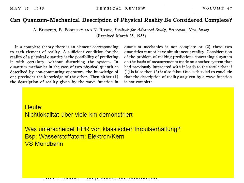Reality (if predictibal with 100% certainty its part of reality) Completeness (a complete theory must describe all of reality) Locality -> QM does not