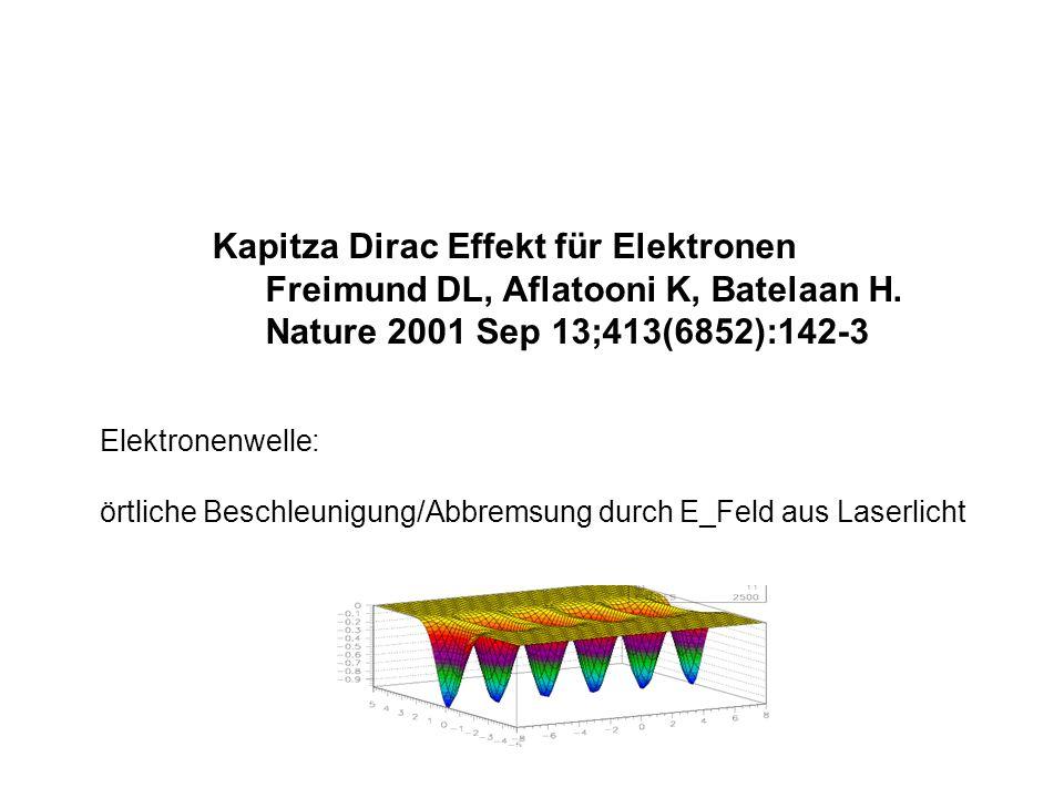 Kapitza Dirac Effekt für Elektronen Freimund DL, Aflatooni K, Batelaan H. Nature 2001 Sep 13;413(6852):142-3 Elektronenwelle: örtliche Beschleunigung/