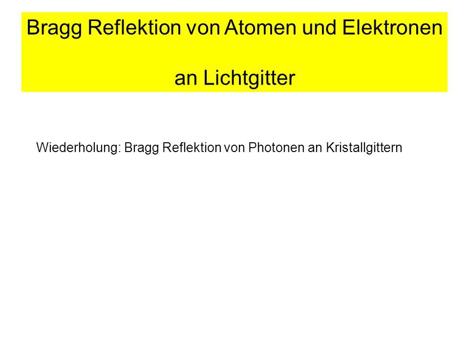 Bragg Reflektion von Atomen und Elektronen an Lichtgitter Wiederholung: Bragg Reflektion von Photonen an Kristallgittern