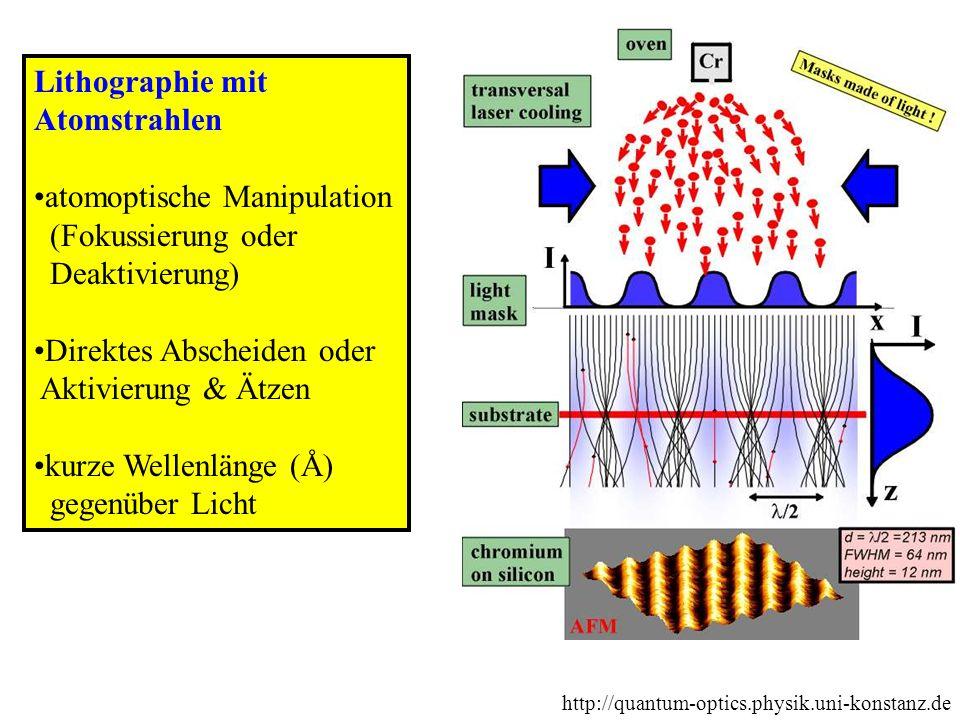 Lithographie mit Atomstrahlen atomoptische Manipulation (Fokussierung oder Deaktivierung) Direktes Abscheiden oder Aktivierung & Ätzen kurze Wellenlän