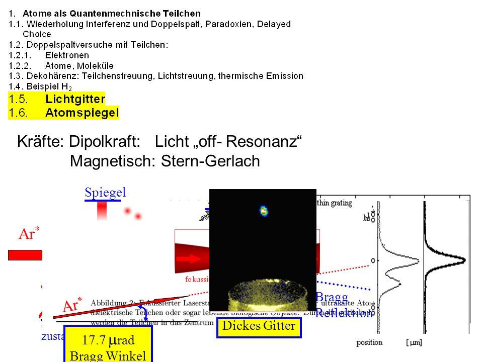 Kräfte: Dipolkraft: Licht off- Resonanz Magnetisch: Stern-Gerlach Ar * Spiegel 2p 8 Grund zustand 1s 5 Spiegel Dickes Gitter Ar * 17.7 rad Bragg Winke