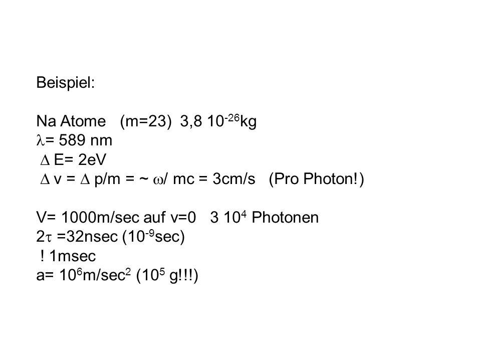 Beispiel: Na Atome (m=23) 3,8 10 -26 kg = 589 nm E= 2eV v = p/m = ~ / mc = 3cm/s (Pro Photon!) V= 1000m/sec auf v=0 3 10 4 Photonen 2 =32nsec (10 -9 s