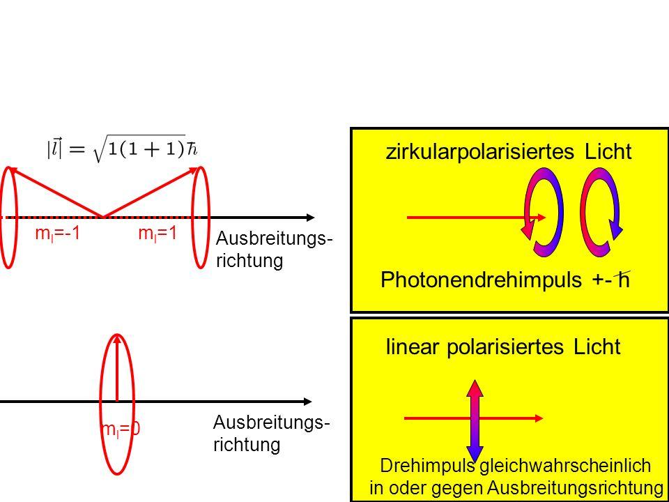 zirkularpolarisiertes Licht Photonendrehimpuls +- h linear polarisiertes Licht Drehimpuls gleichwahrscheinlich in oder gegen Ausbreitungsrichtung Ausb