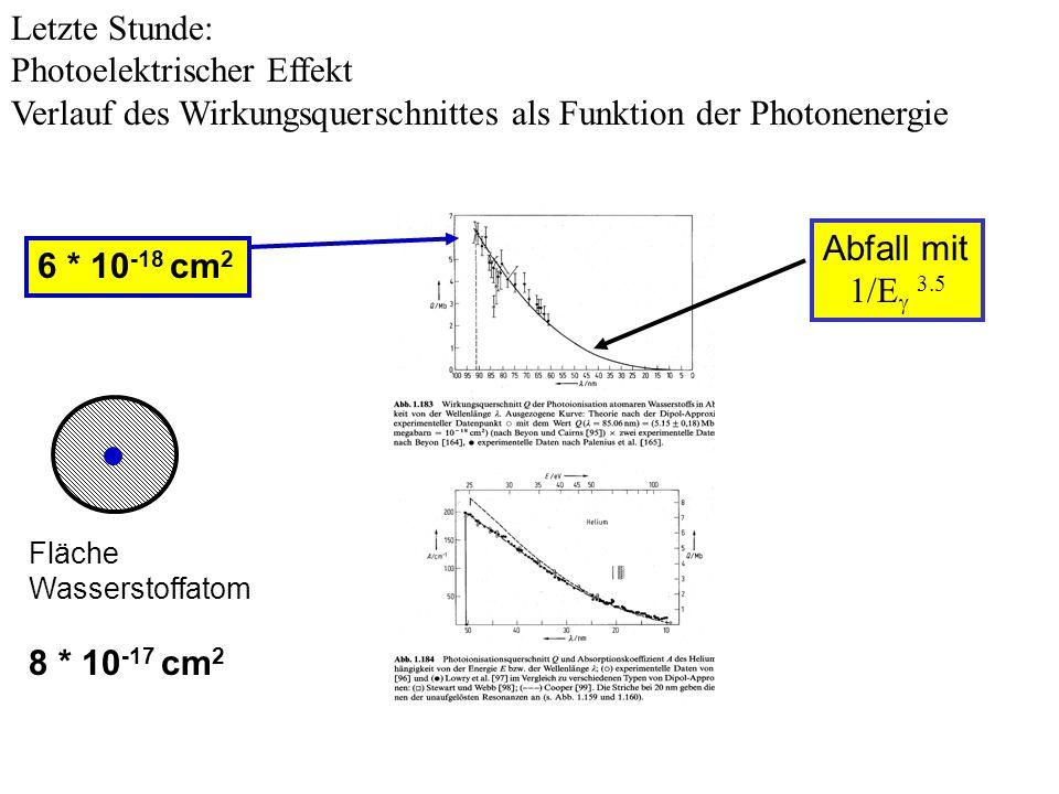 Letzte Stunde: Photoelektrischer Effekt Verlauf des Wirkungsquerschnittes als Funktion der Photonenergie 6 * 10 -18 cm 2 Fläche Wasserstoffatom 8 * 10 -17 cm 2 Abfall mit 1/E 3.5
