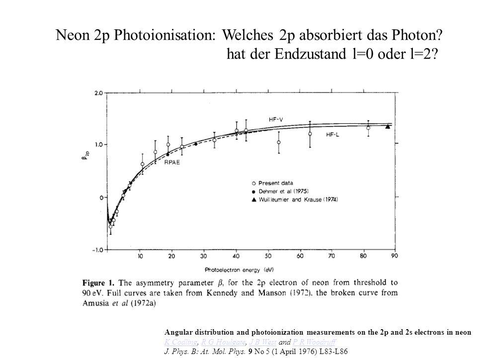 Photo Effect One Photon Energie: E e = E – E bind alle Energie im Elektron (Masse!) Impuls: k ion =-k e Drehimpuls: L=1 Drehimpuls im Elektron dominant bei kleinen E (Dipolnäherung)
