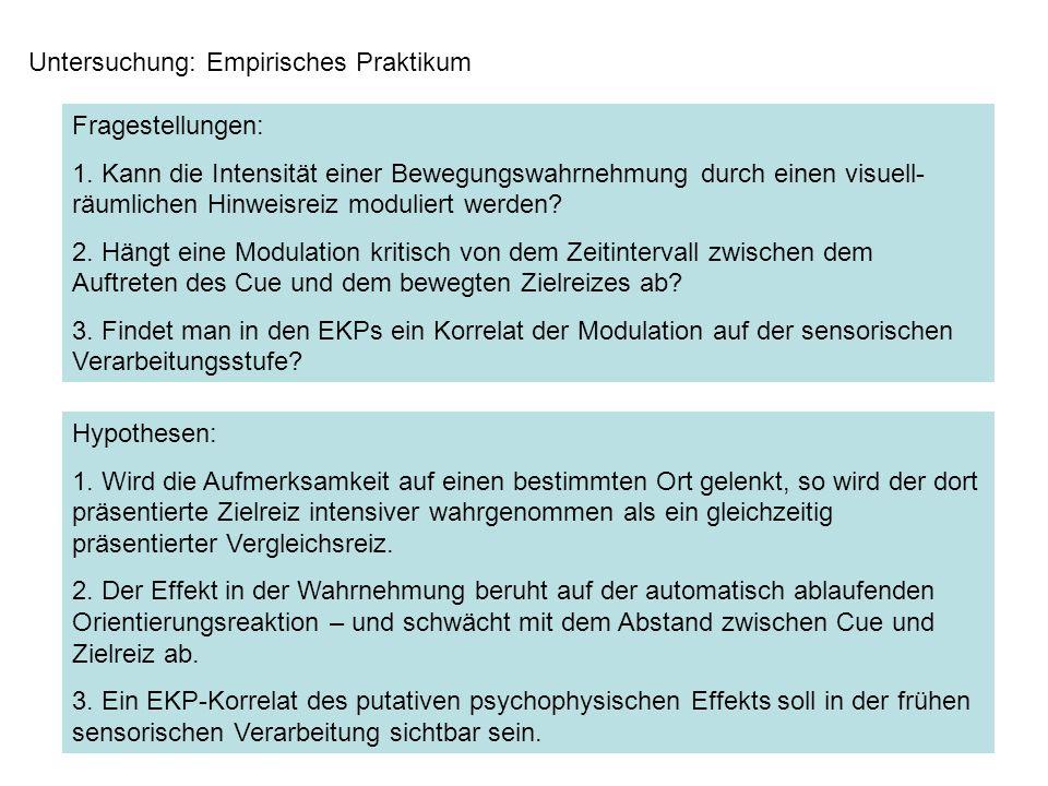 Untersuchung: Empirisches Praktikum Fragestellungen: 1. Kann die Intensität einer Bewegungswahrnehmung durch einen visuell- räumlichen Hinweisreiz mod