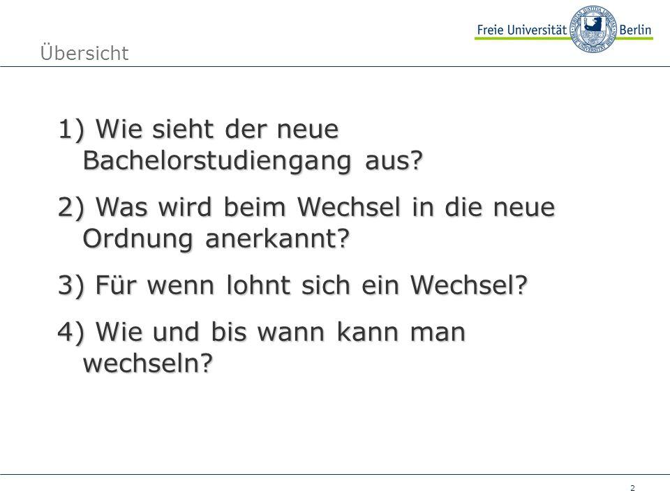 2 Übersicht 1) Wie sieht der neue Bachelorstudiengang aus.