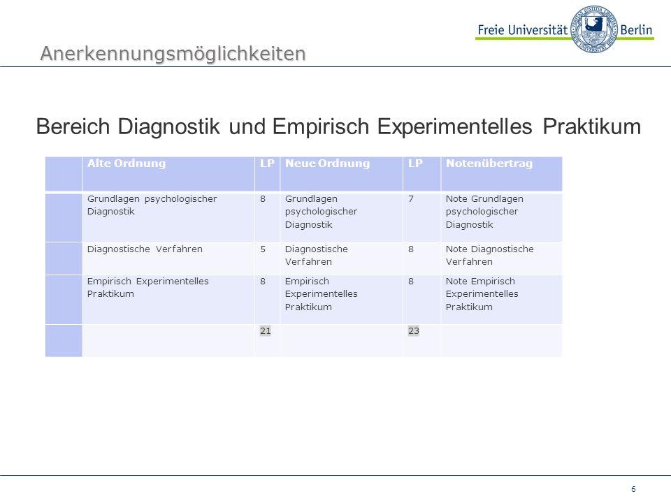 6 Anerkennungsmöglichkeiten Bereich Diagnostik und Empirisch Experimentelles Praktikum Alte OrdnungLPNeue OrdnungLPNotenübertrag Grundlagen psychologi